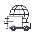 worldwide delivery line icon sign vector image