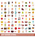 100 tavern icons set flat style vector image vector image