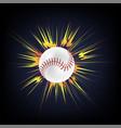 baseball ball with yellow explosion vector image vector image
