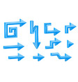 blue shaped 3d arrows vector image