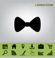 bow tie icon black icon at gray vector image vector image