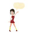 cartoon party girl with speech bubble vector image vector image