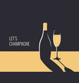champagne bottle banner glass on gold and black vector image vector image