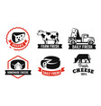 cheese emblem black set for farm products vector image vector image