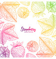 colorful frame with strawberry healthy vector image vector image
