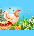 easter chicken with eggs greeting card design vector image vector image
