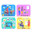 family financial plan creating and approving set vector image vector image