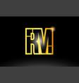 gold black alphabet letter rm r m logo vector image
