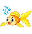 Gold fish with bubbles on white background vector image vector image