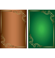 green and brown backgrounds with golden decoration vector image