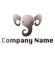 grey elephant head modern logo on a white vector image