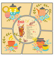 hand drawn tea recipe composition vector image vector image