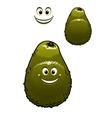 Happy little green cartoon avocado fruit vector image