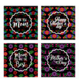 happy mothers day cards with floral decoration vector image