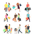 happy shopping people man woman and shoppers vector image