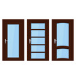 interior doors brown wooden set of designs with vector image vector image