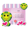 june animal calendar vector image vector image