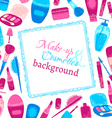 Make-up and cosmetics background vector image vector image