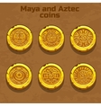 old gold aztec and Maya coins game element vector image vector image