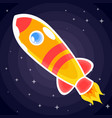orange with red stripes space rocket with porthole vector image vector image