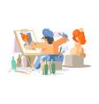 painter draws naked girl vector image