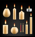 realistic burning candle icon set vector image vector image