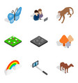 reservation park icons set isometric style vector image vector image