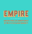 retro 3d empire display font design alphabet vector image