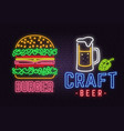 retro neon burger and craft beer sign on brick vector image