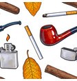 seamless pattern of smoking pipe lighter cigar vector image
