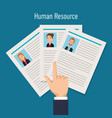 set curriculum vitae with hand index vector image vector image