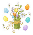 set easter design elements eggs tulips vector image vector image