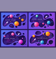 set of colorful cartoon outer space backgrounds vector image