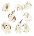 set of cute funny bunnies cute hand drawn design vector image vector image