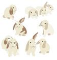 set of cute funny bunnies cute hand drawn design vector image