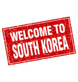 South Korea red square grunge welcome to stamp vector image vector image