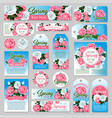 spring rose flower gift tag and greeting card set vector image vector image