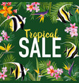 summer sale banner with tropical flowers vector image vector image