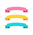 three ribbon banners in flat color pink blue and vector image vector image