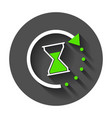time icon flat with hourglass with long shadow vector image vector image