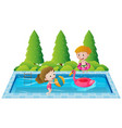 two kids swimming in the pool vector image vector image