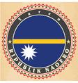 Vintage label cards of Nauru flag vector image vector image