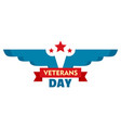 wings veterans day logo flat style vector image vector image