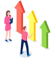 woman and man looking at growing arrows chart vector image vector image