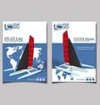 yacht club flyers design with sport trimaran vector image vector image