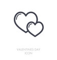 two heart linear icon vector image
