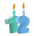 12 years birthday number with festive candle for vector image vector image