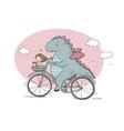a funny cartoon dinosaur on a bicycle vector image