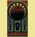 art nouveau halloween banner with skulls vector image vector image