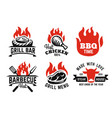bbq emblem on fire set for menu and cafe vector image